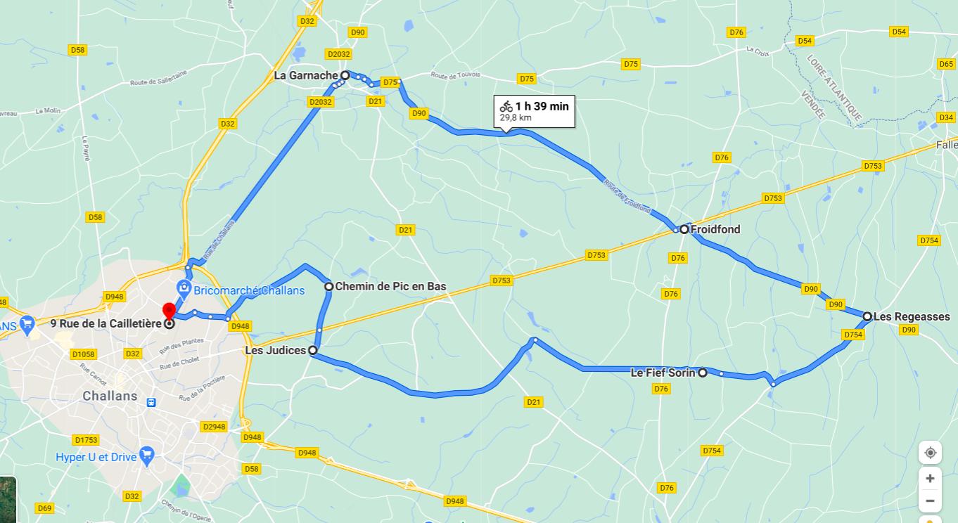 Parcours N25-30km-Bocage