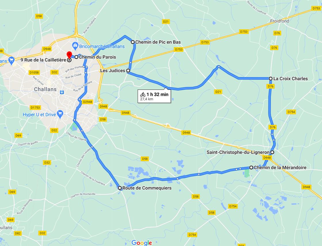 Parcours N28-27km-Bocage
