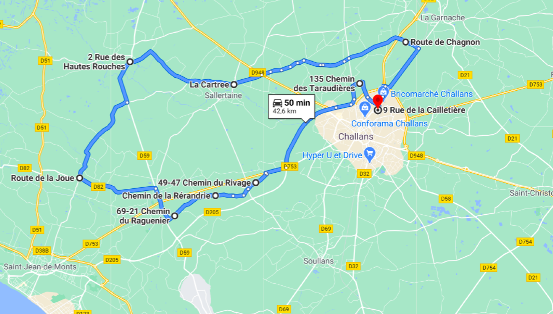 Parcours N40-08-43km-Marais