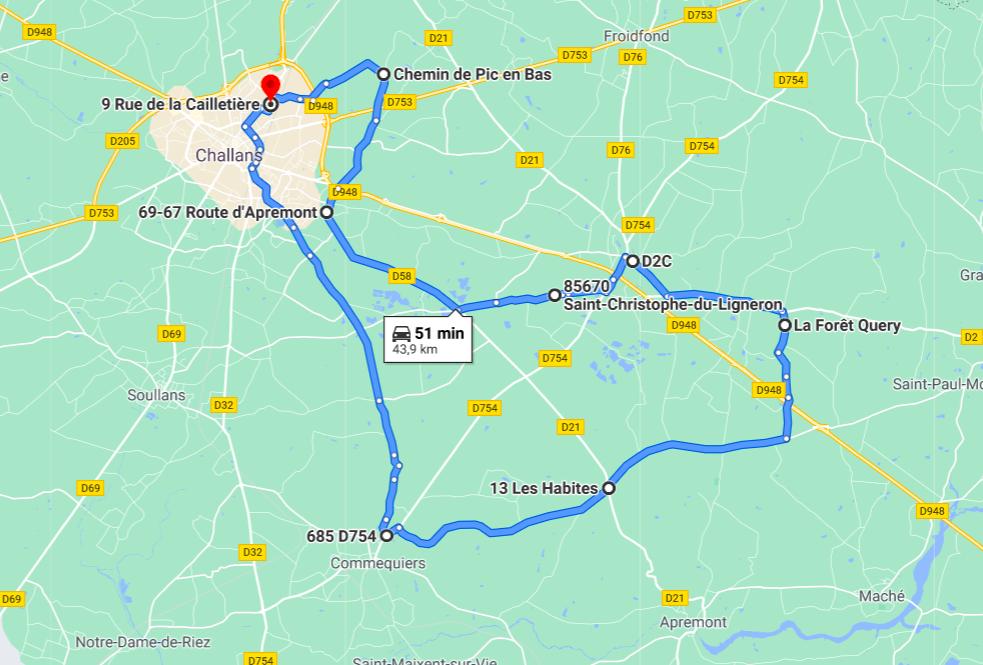 Parcours N40-10-44km-Bocage