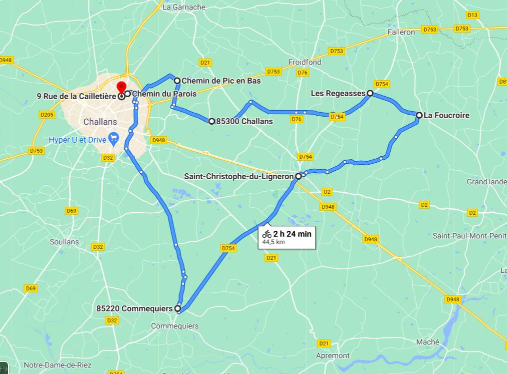 Parcours N40-16-45km-Bocage