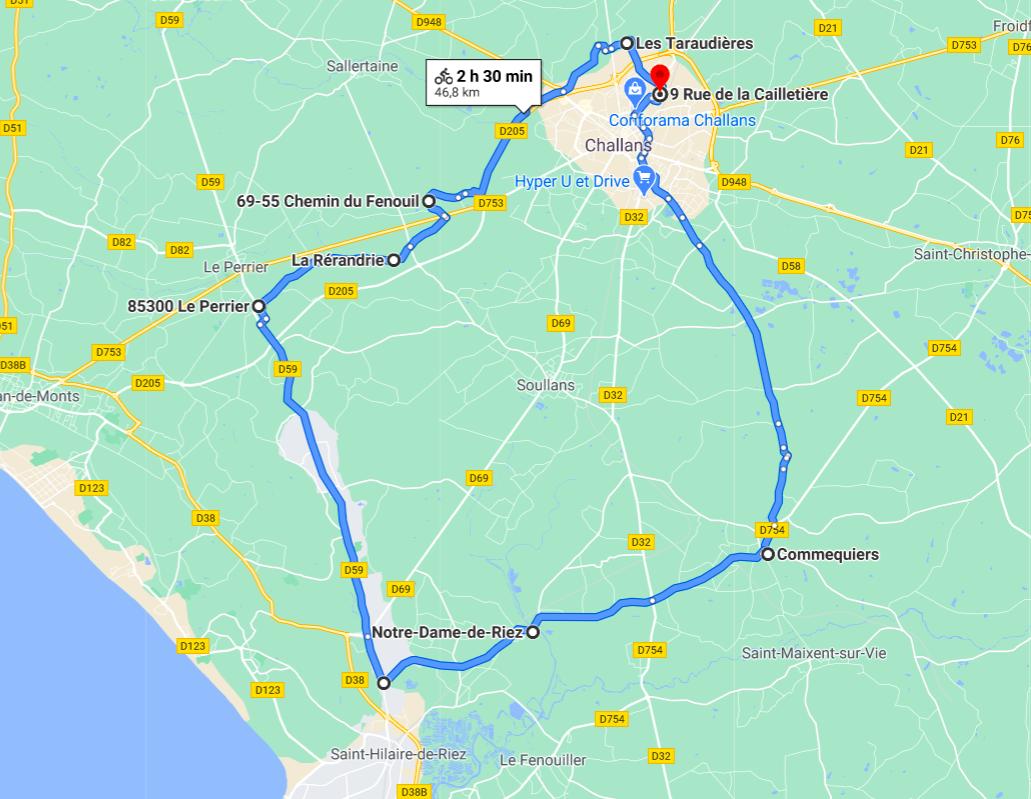 Parcours N40-24-46km-Bocage