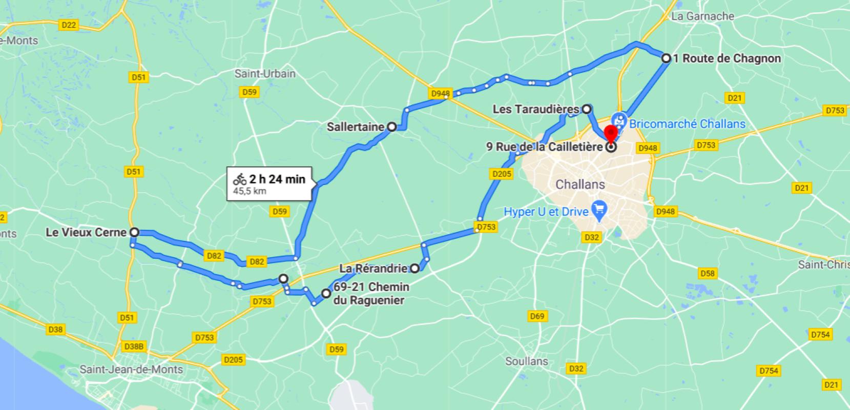 Parcours N40-27-45km-Marais