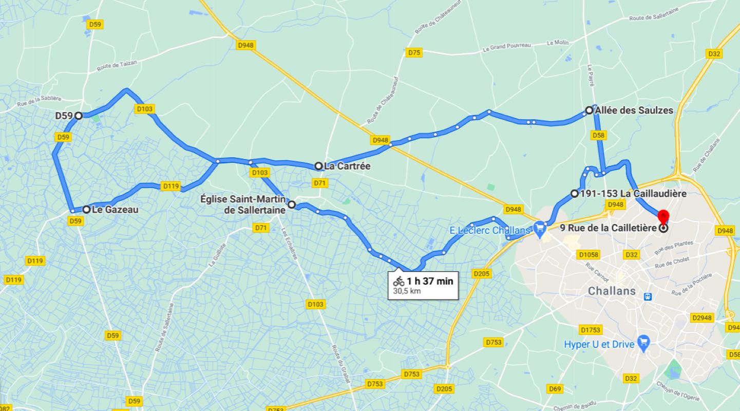 Parcours N43-30,2km-Marais