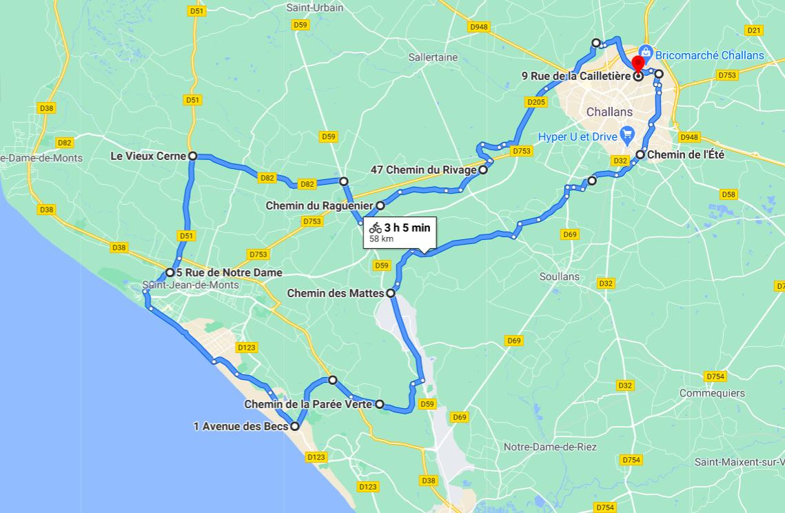 Parcours N613-58km-Marais Côte