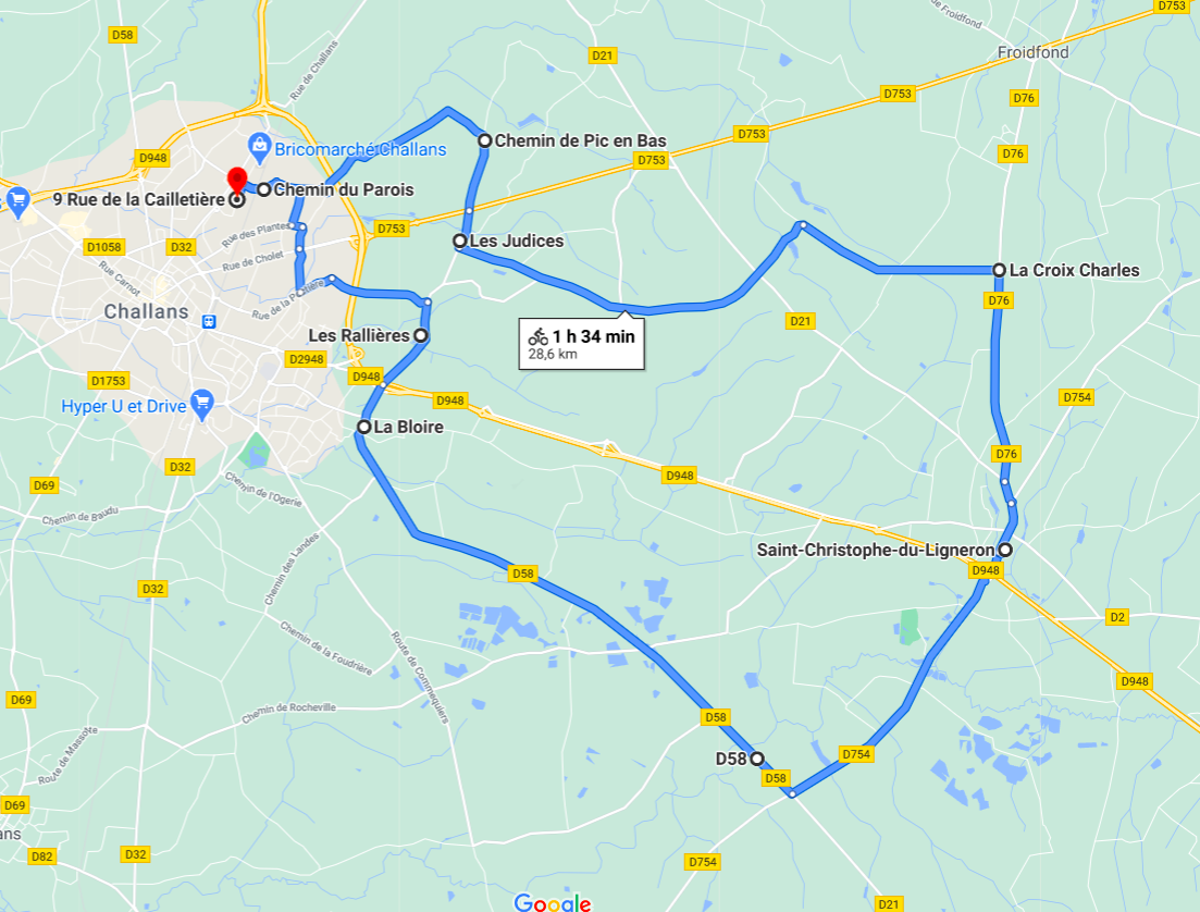 Parcours N31-28km-Bocage
