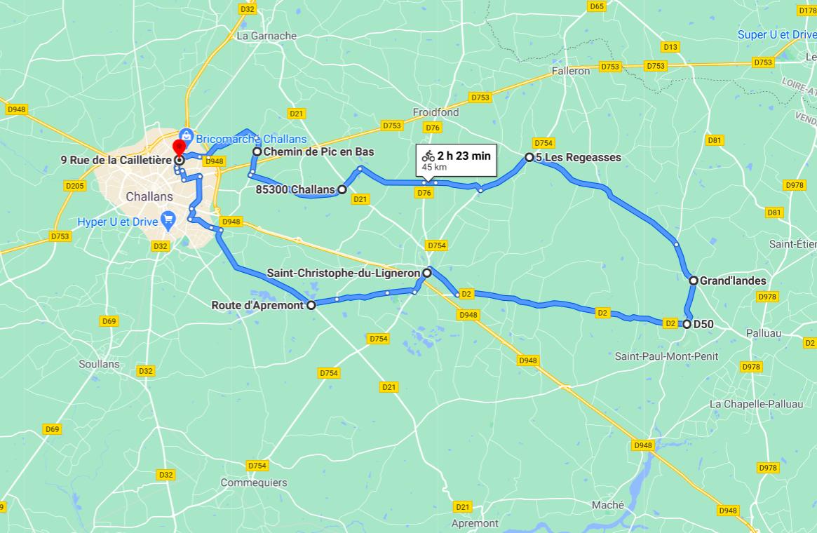 Parcours N40-19-45km-Bocage