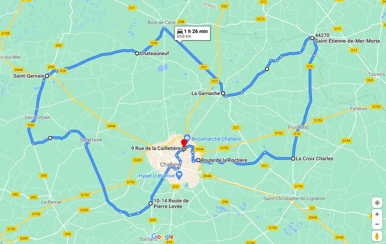 Parcours N708J-69km-Bocage Marais