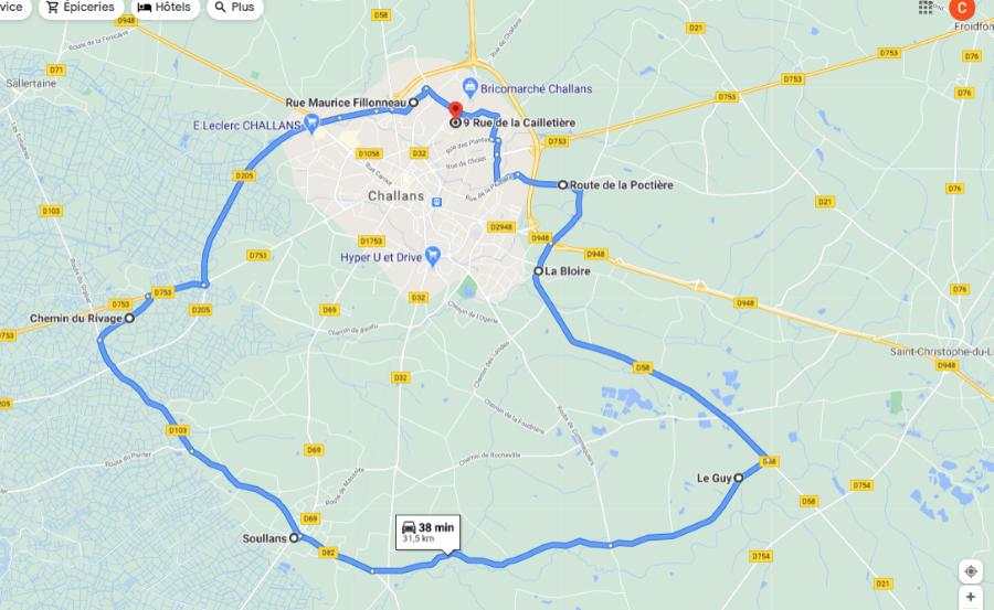 Parcours N30-32km-Marais