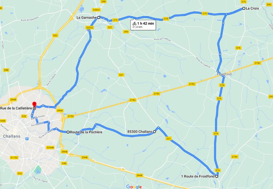 Parcours N32-31km-Bocage