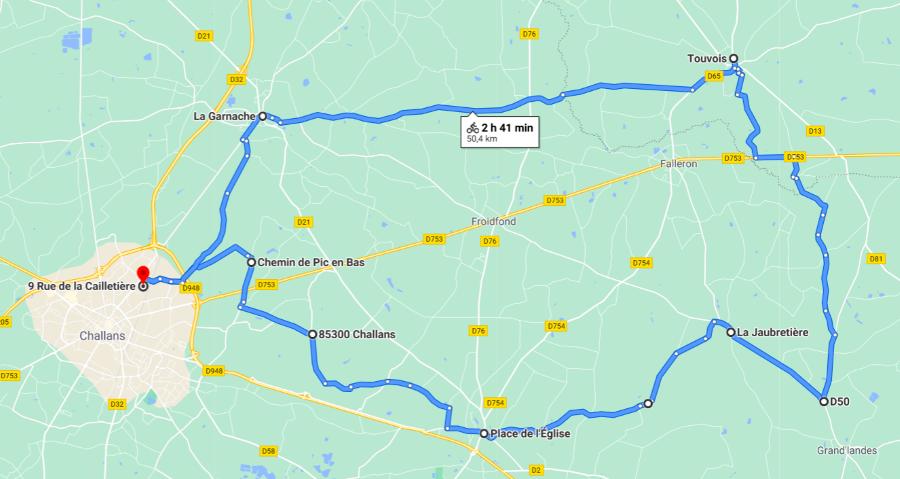 Parcours N50-01-49km-Bocage