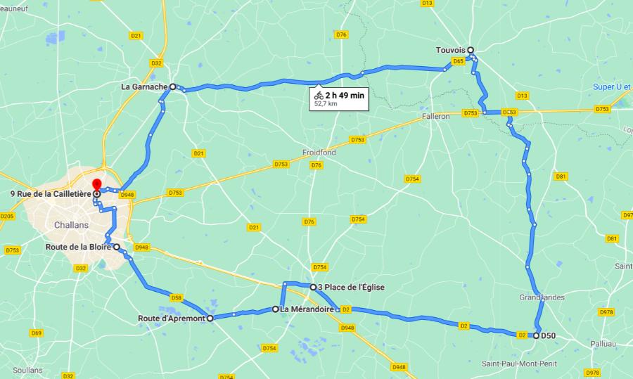 Parcours N50-13-51km-Bocage