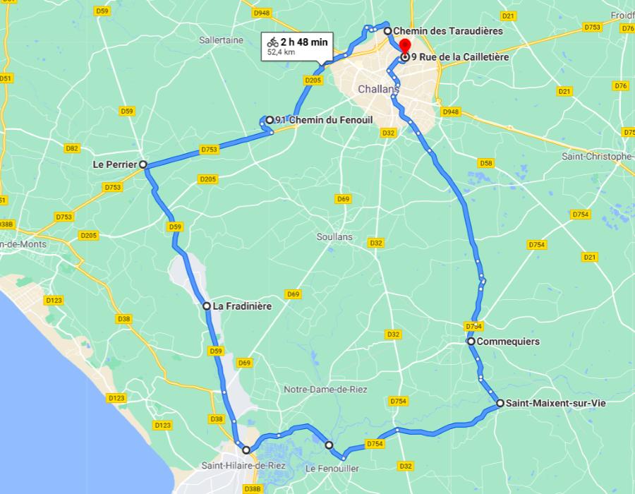 Parcours N50-17-53km-Bocage Marais