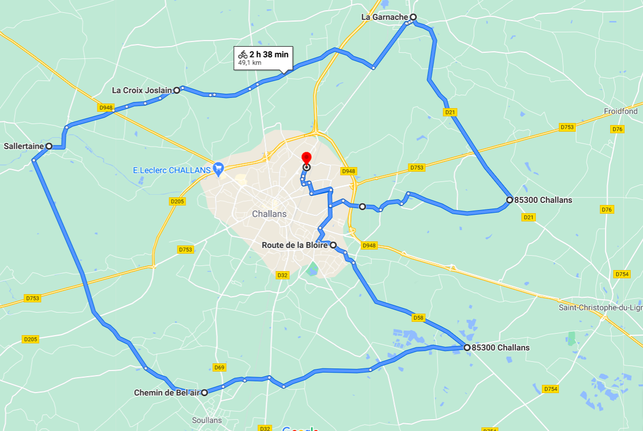 Parcours N50-18-49km-Bocage