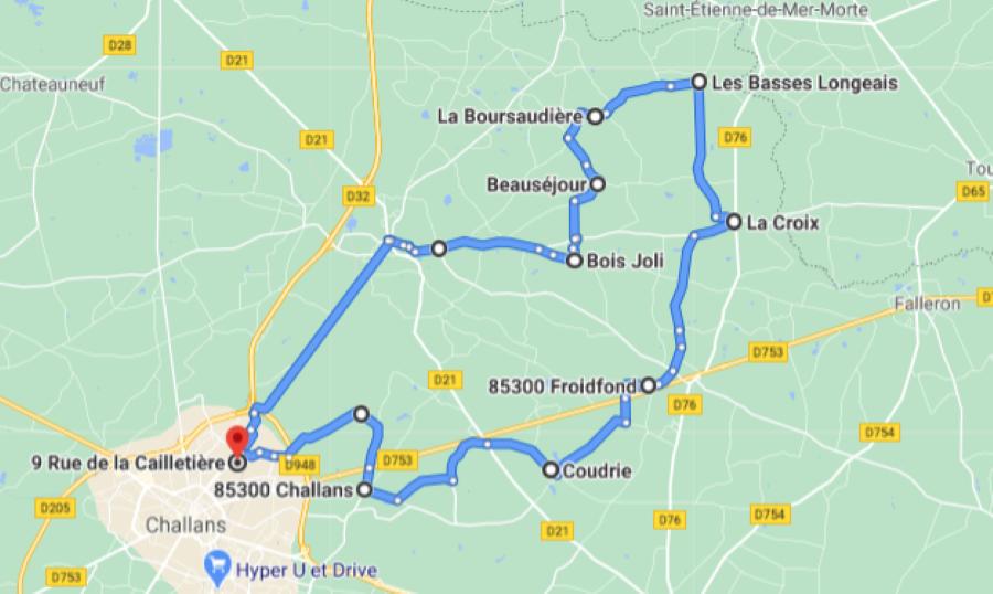 Parcours N51-32km-Bocage