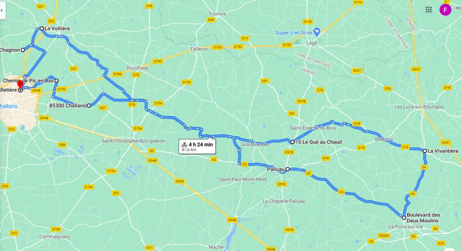Parcours N815J-77km-Bocage