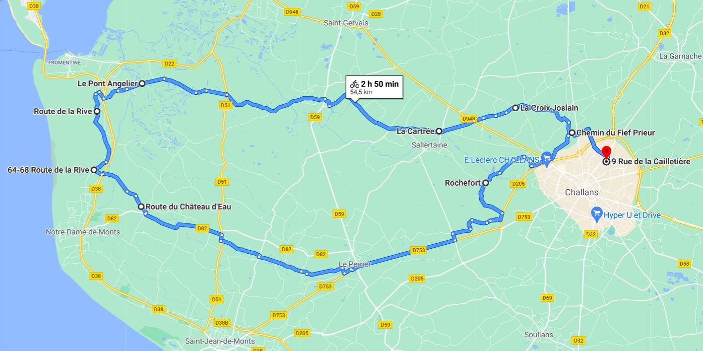 Parcours N50-19-55km-Marais