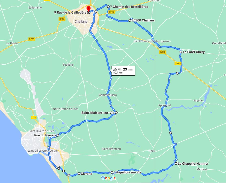 Parcours N801C-81km-Bocage