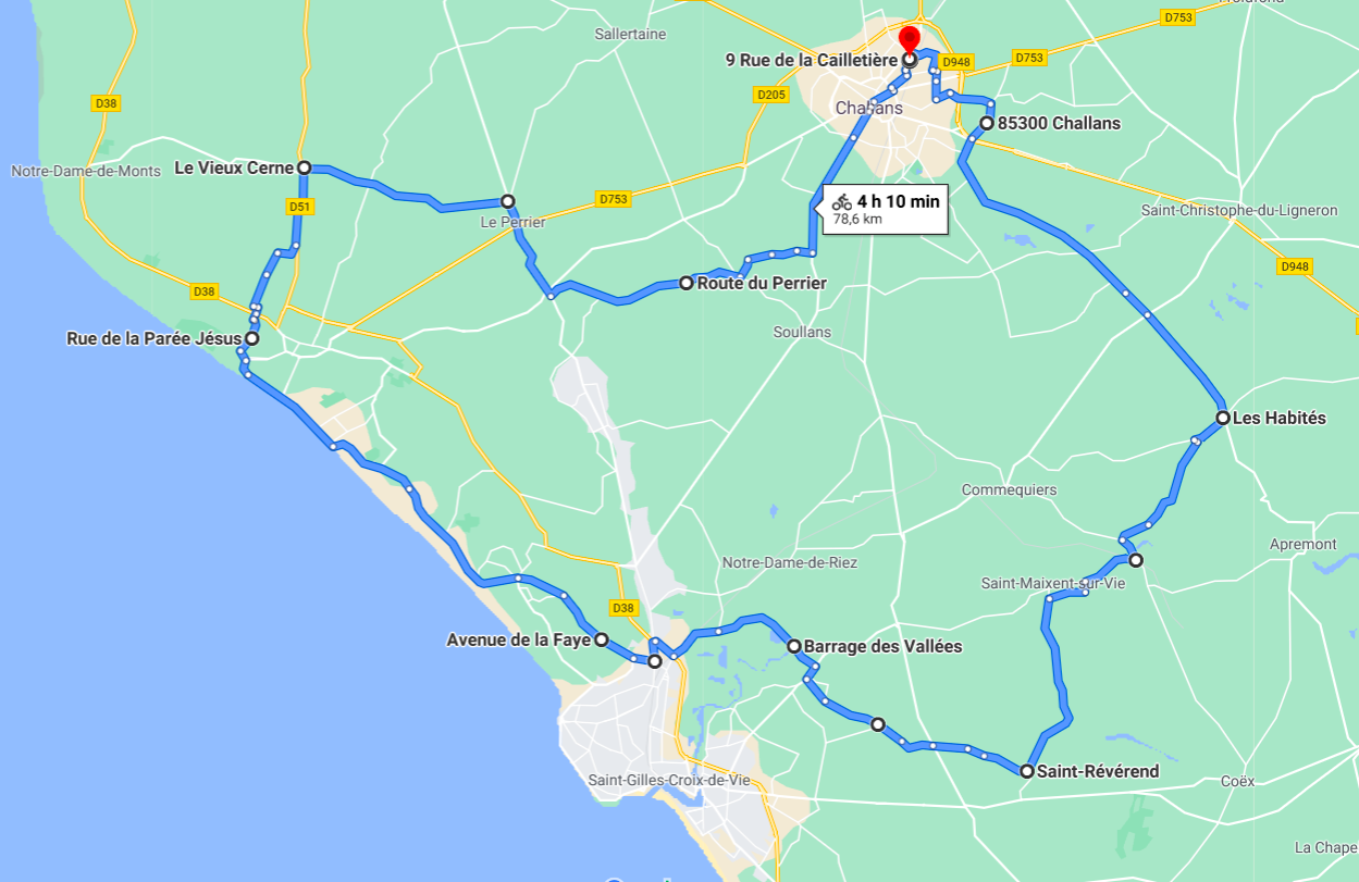 Parcours N812J-78km-Marais Bocage