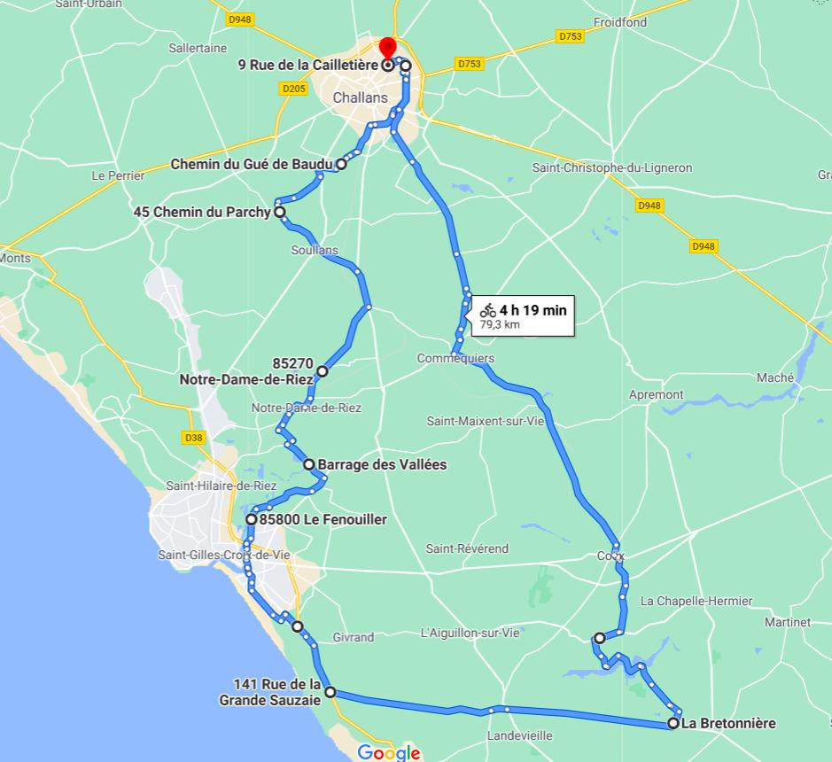 Parcours N807C-79km-Côte Bocage
