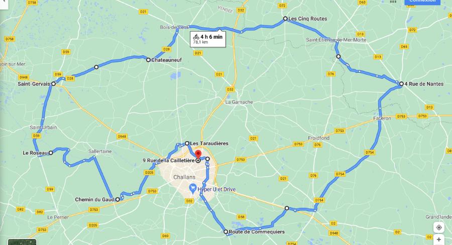 Parcours N808C-78km-Bocage/Marais