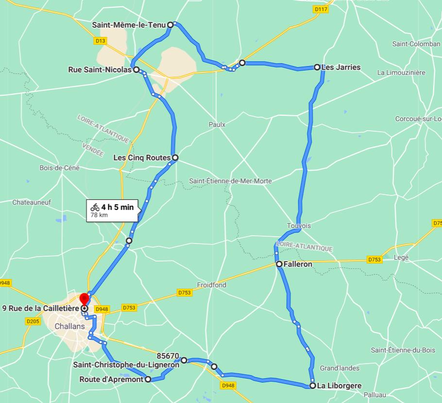 Parcours N809-78km-Bocage