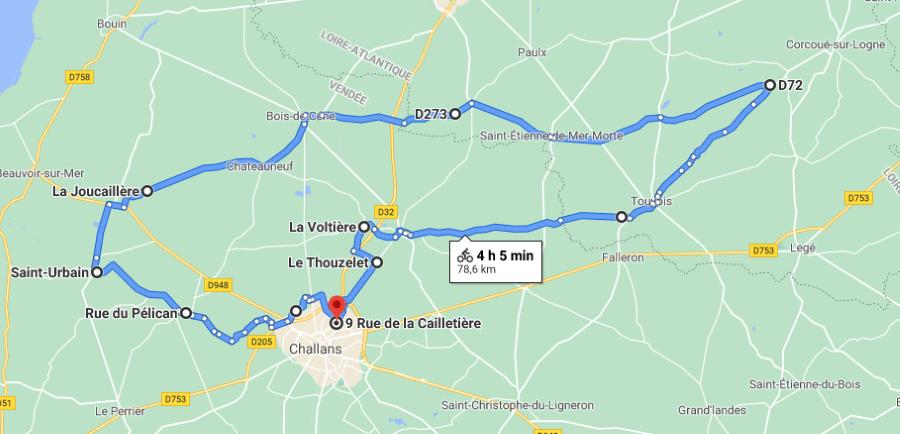 Parcours N820J-79km-Bocage Marais