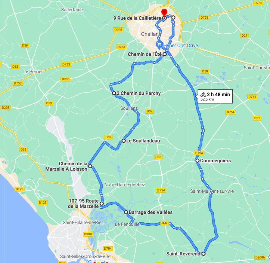 Parcours N50-15-52km-Bocage