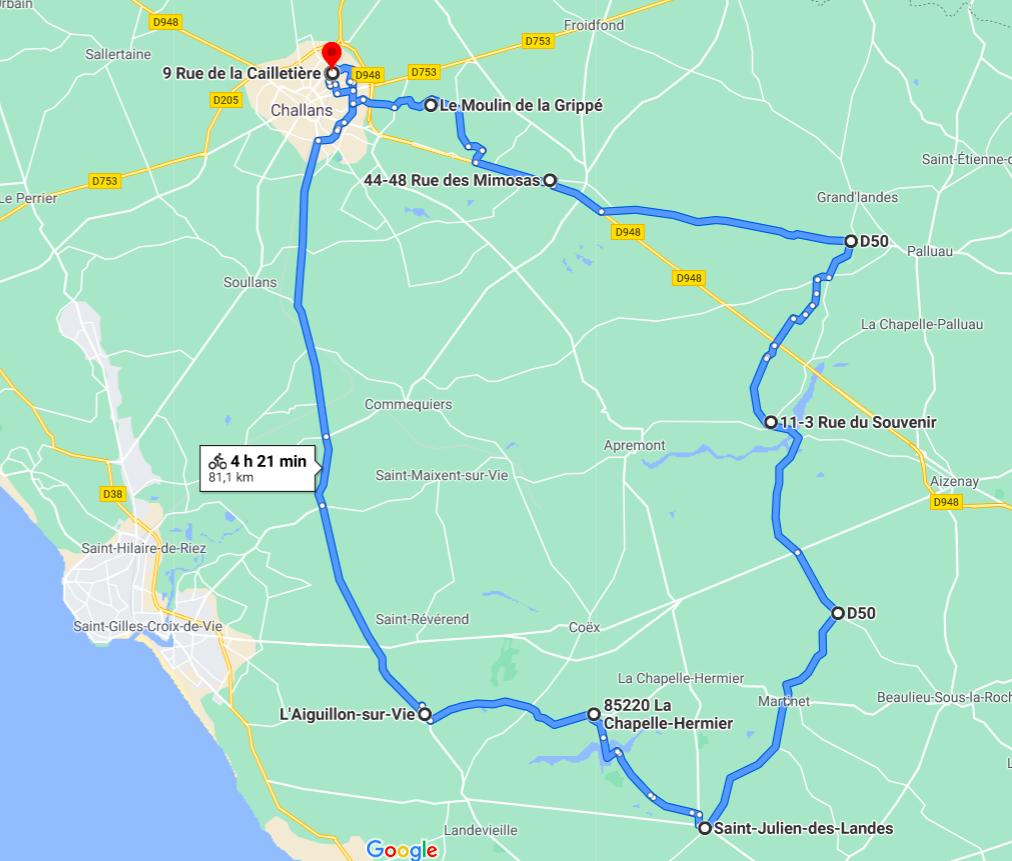 Parcours N803JC-80km-Bocage