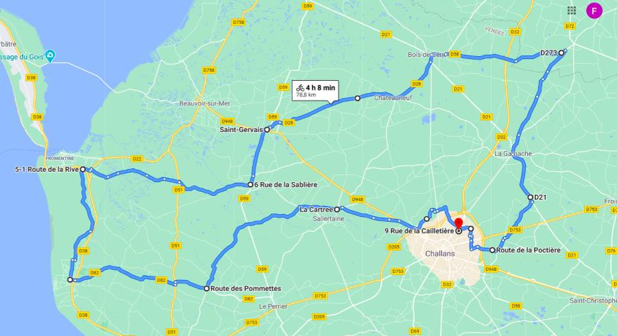 Parcours N821JC-79km-Bocage Marais